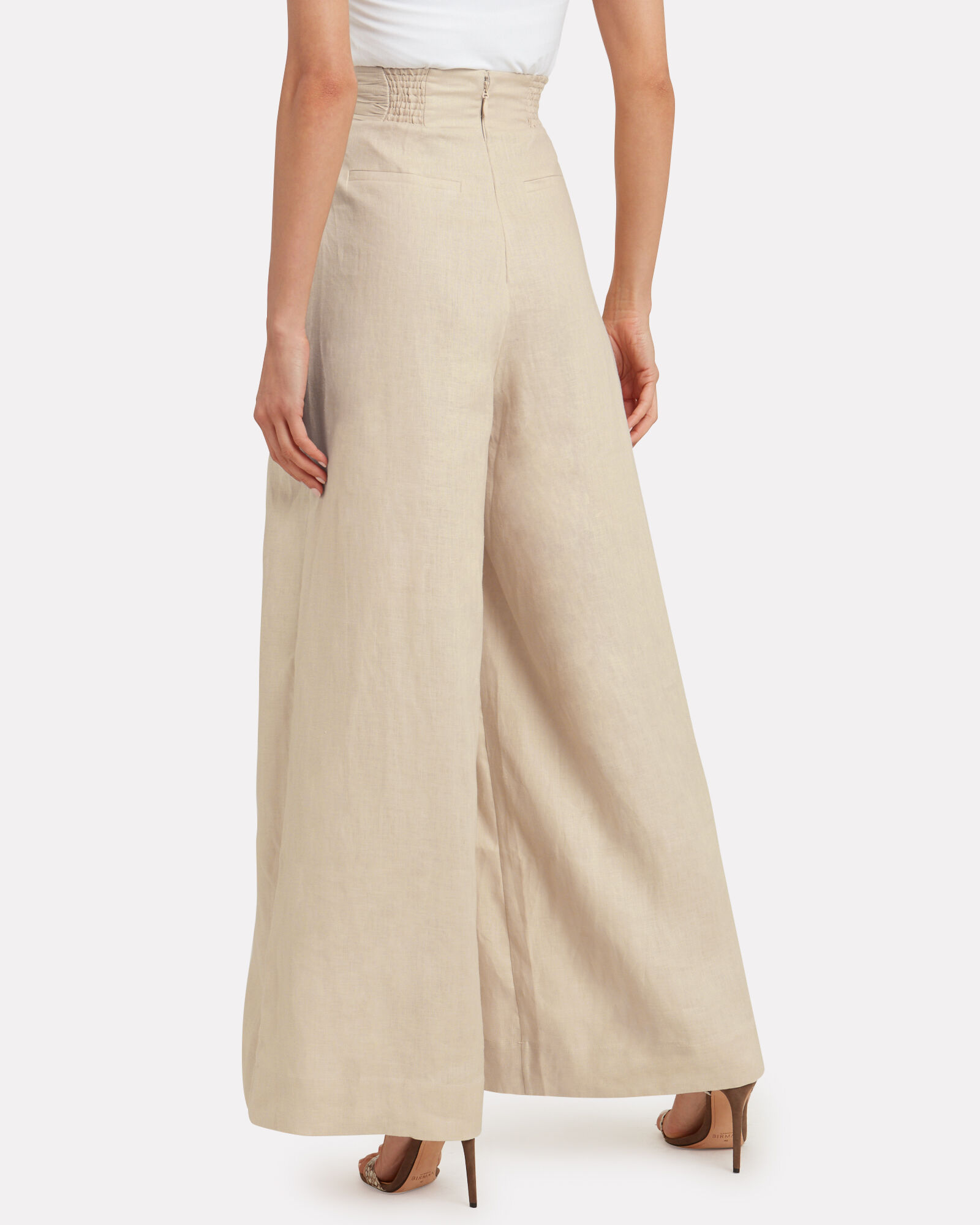 Carolyn Wide Leg Linen Pants, BEIGE, hi-res