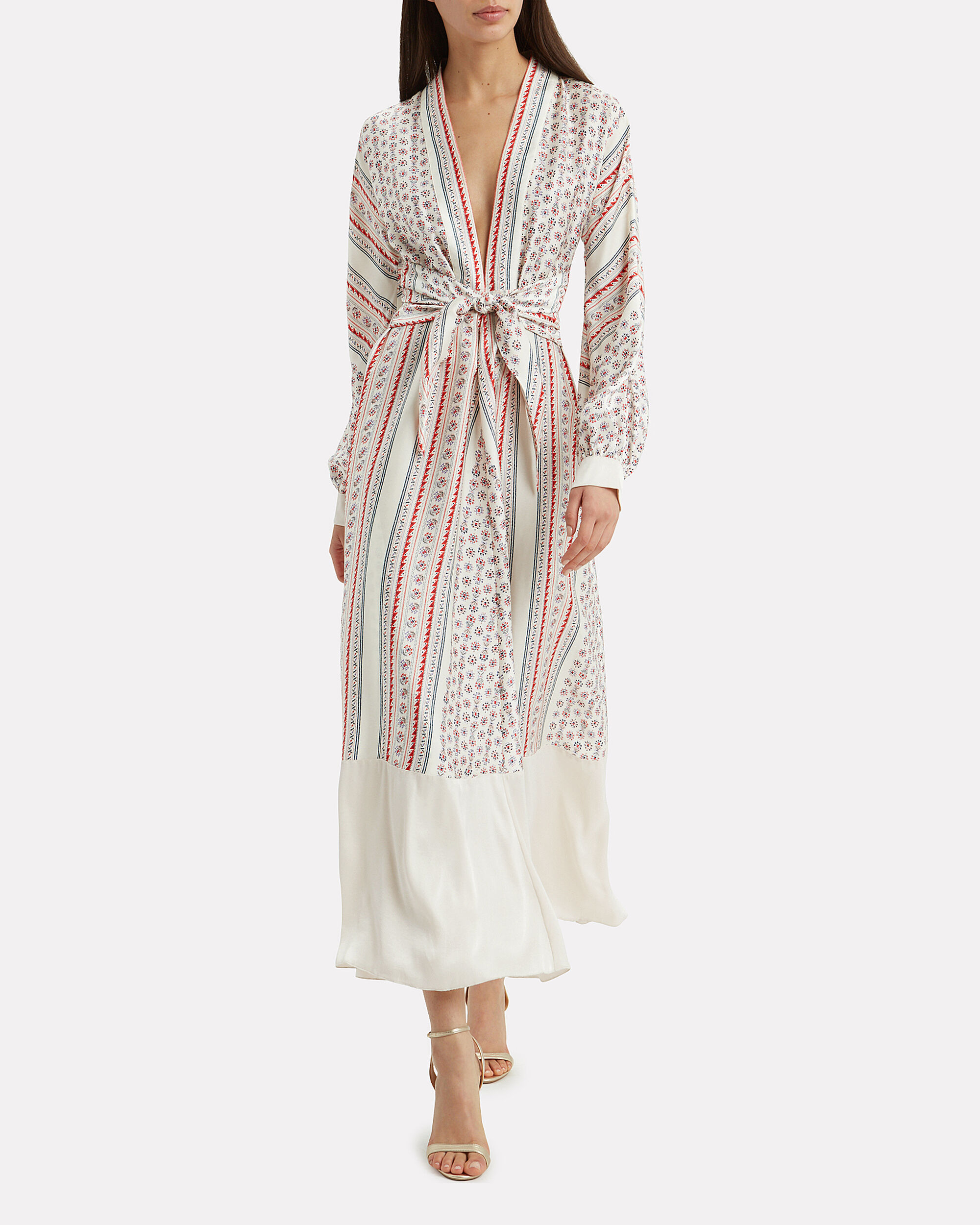 Scarf Print Deep V Gown, IVORY/RED/BLUE, hi-res