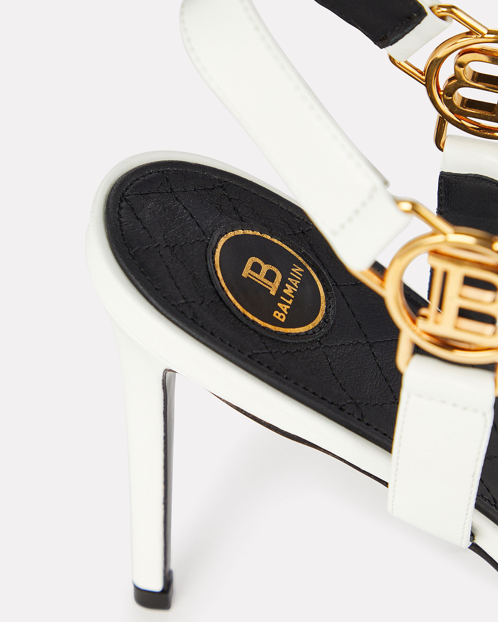 Pernille Logo Leather Sandals, WHITE, hi-res