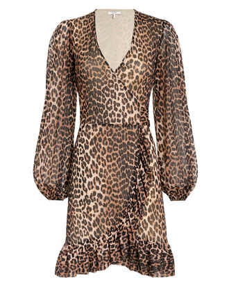 Printed Mesh Leopard Wrap Dress, BROWN, hi-res