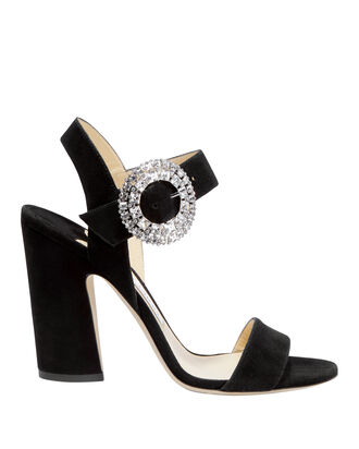 Mischa Crystal Buckle Sandals, BLACK, hi-res