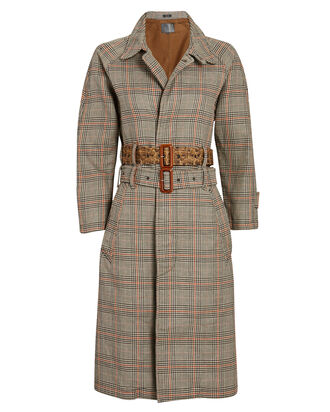 Double-Belted Plaid Trench Coat, BROWN/PLAID, hi-res