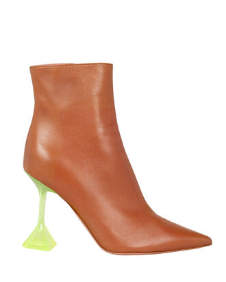 Giorgia Leather Contrast Heel Booties, BROWN, hi-res