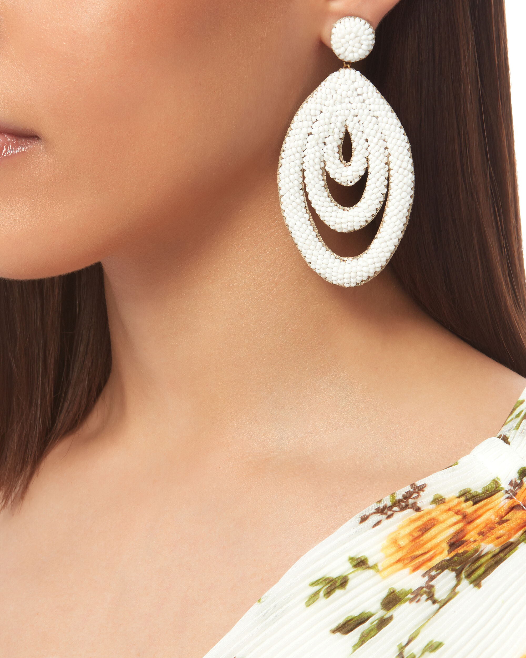 Oval Drop Earrings, WHITE, hi-res