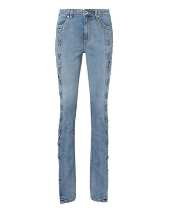 Lace-Up Stovepipe Blue Jeans, BLUE-MED, hi-res