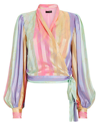 Glenda Striped Wrap Top, PINK/LILAC STRIPE, hi-res