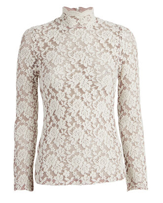 Felted Lace Mock Neck Top, IVORY, hi-res