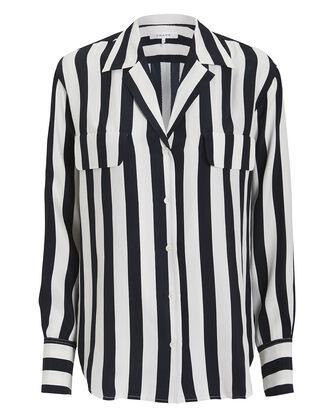 Pocket Striped Blouse, NAVY/WHITE/STRIPES, hi-res