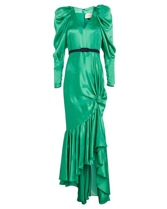 Florine Butterfly Jacquard Satin Dress, EMERALD, hi-res