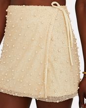 Mare Beaded Wrap Mini Skirt, IVORY, hi-res