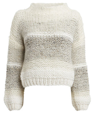 Tweed Mohair-Blend Big Sweater, CREAM STRIPE, hi-res