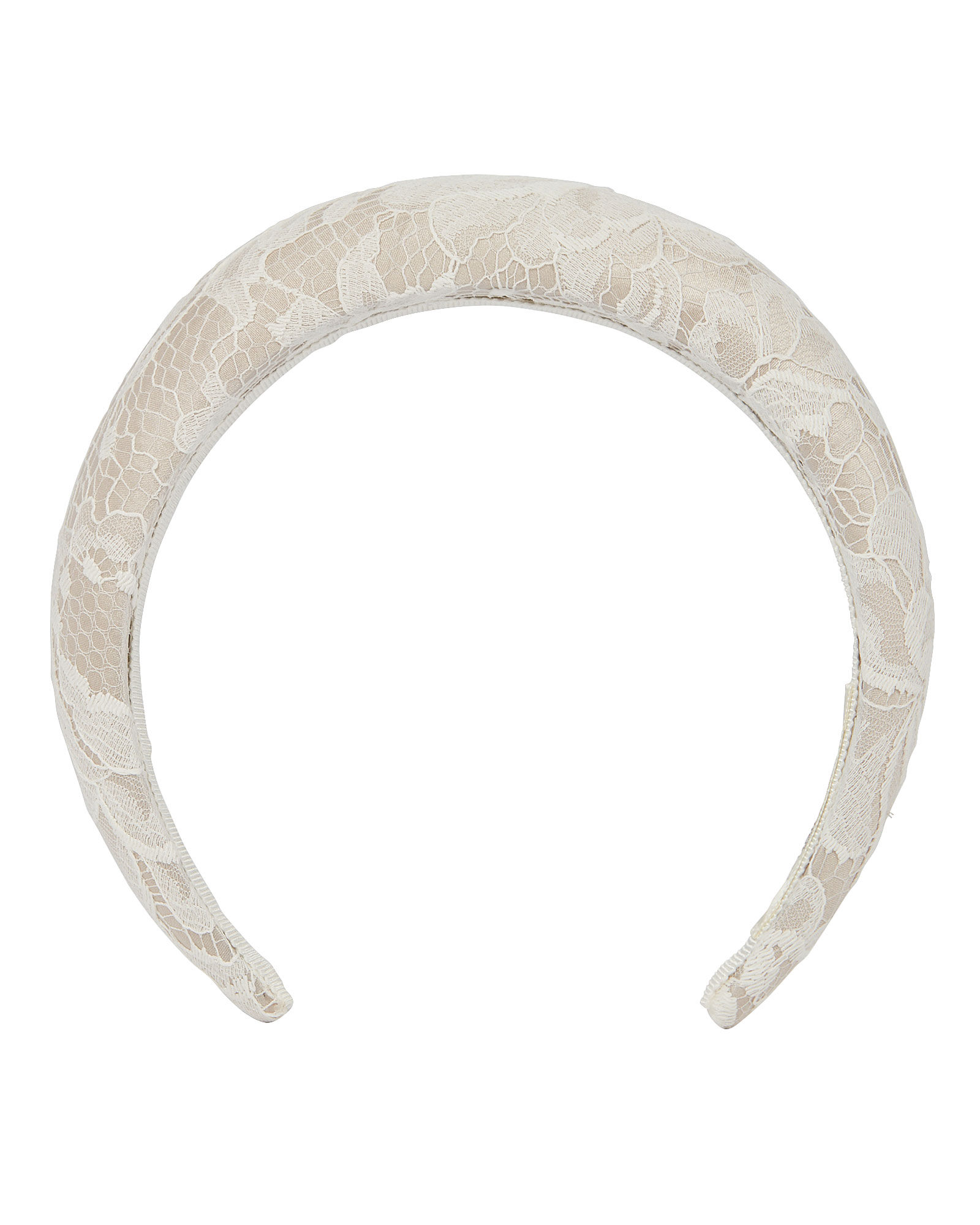 Countess Lace Charmeuse Headband, IVORY, hi-res