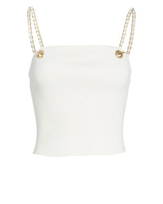 Chain-Link Rib Knit Tank Top, WHITE, hi-res