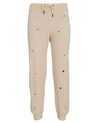 The Cropped Floral Embroidery Joggers, BLUSH, hi-res