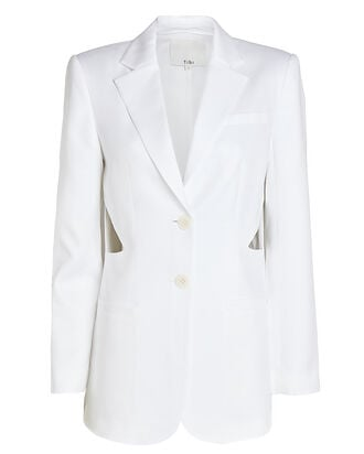 Soft Suiting Cut-Out Blazer, WHITE, hi-res