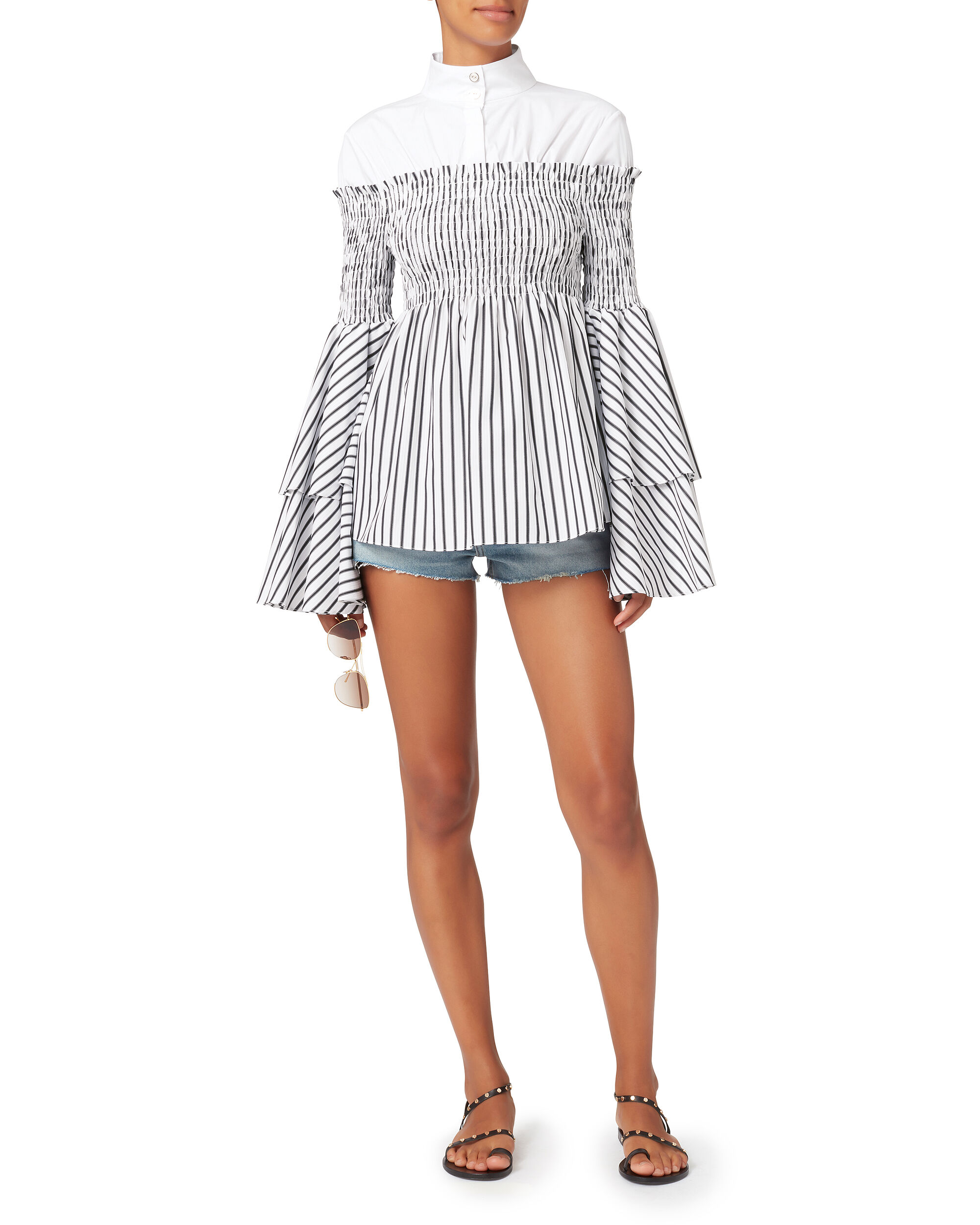 Ali Layered Blouse, STRIPE, hi-res
