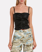 Shirred Cropped Leather Tank, BLACK, hi-res