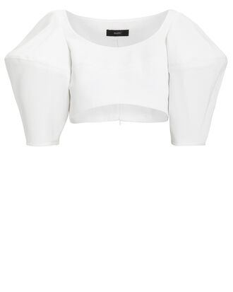 Structured Crop Top, WHITE, hi-res