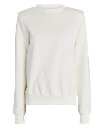 Crewneck Padded Shoulder Sweatshirt, WHITE, hi-res