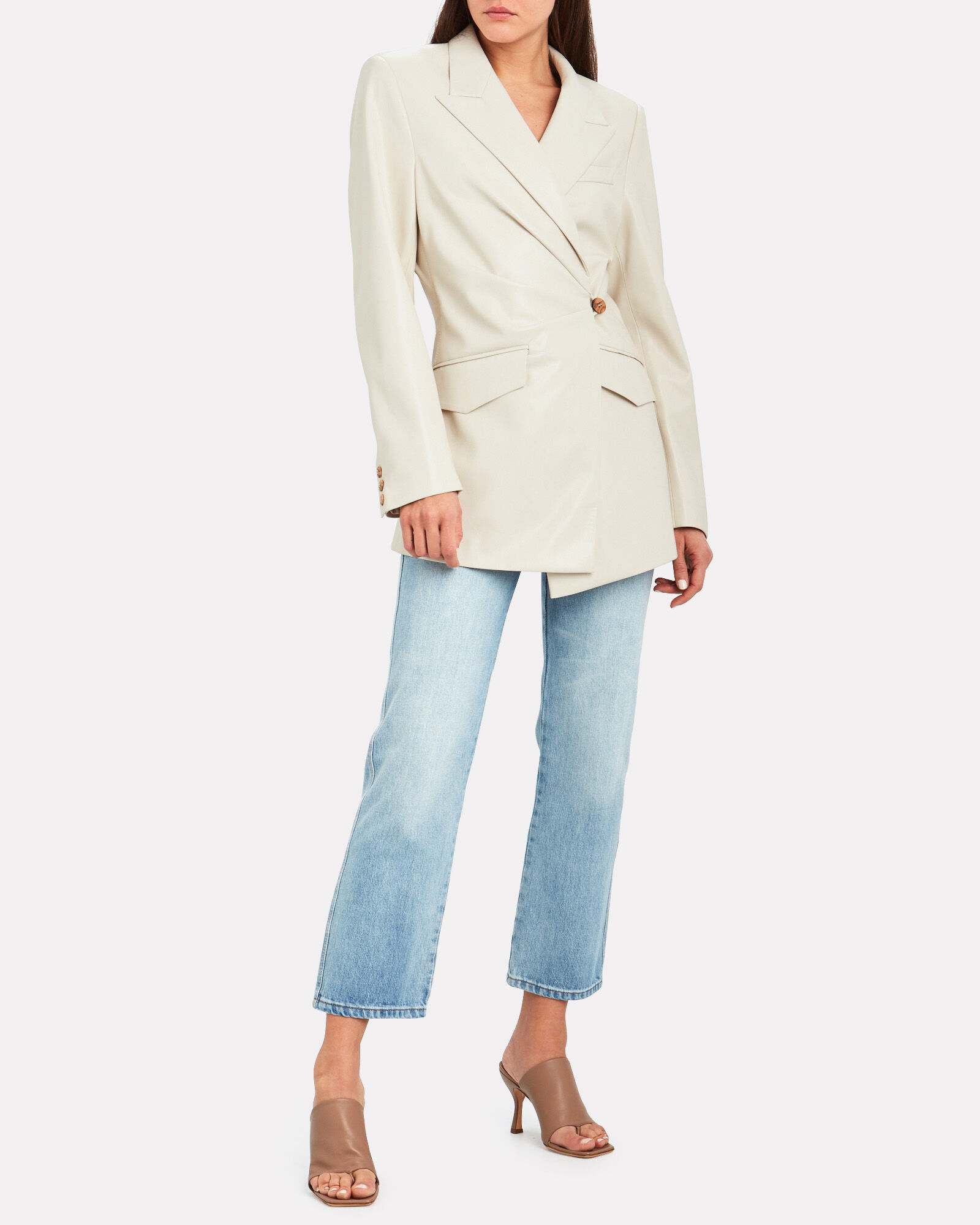 Blair Vegan Leather Blazer, IVORY, hi-res