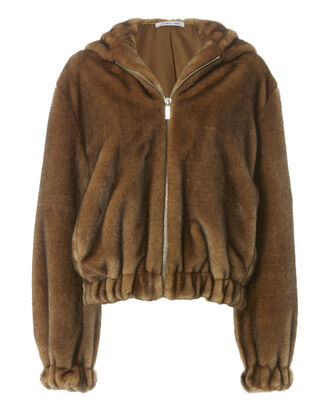 Faux Fur Hooded Bomber Jacket, BROWN, hi-res