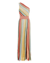 One Shoulder Striped Gown, RAINBOW/METALLIC, hi-res