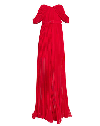 Georgette Pleated Jumpsuit, RED, hi-res