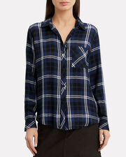 Hunter Navy Plaid Button Down Top, NAVY PLAID, hi-res