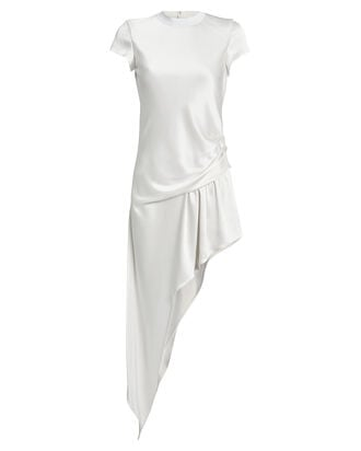 Asymmetrical Ruched Satin Dress, WHITE, hi-res