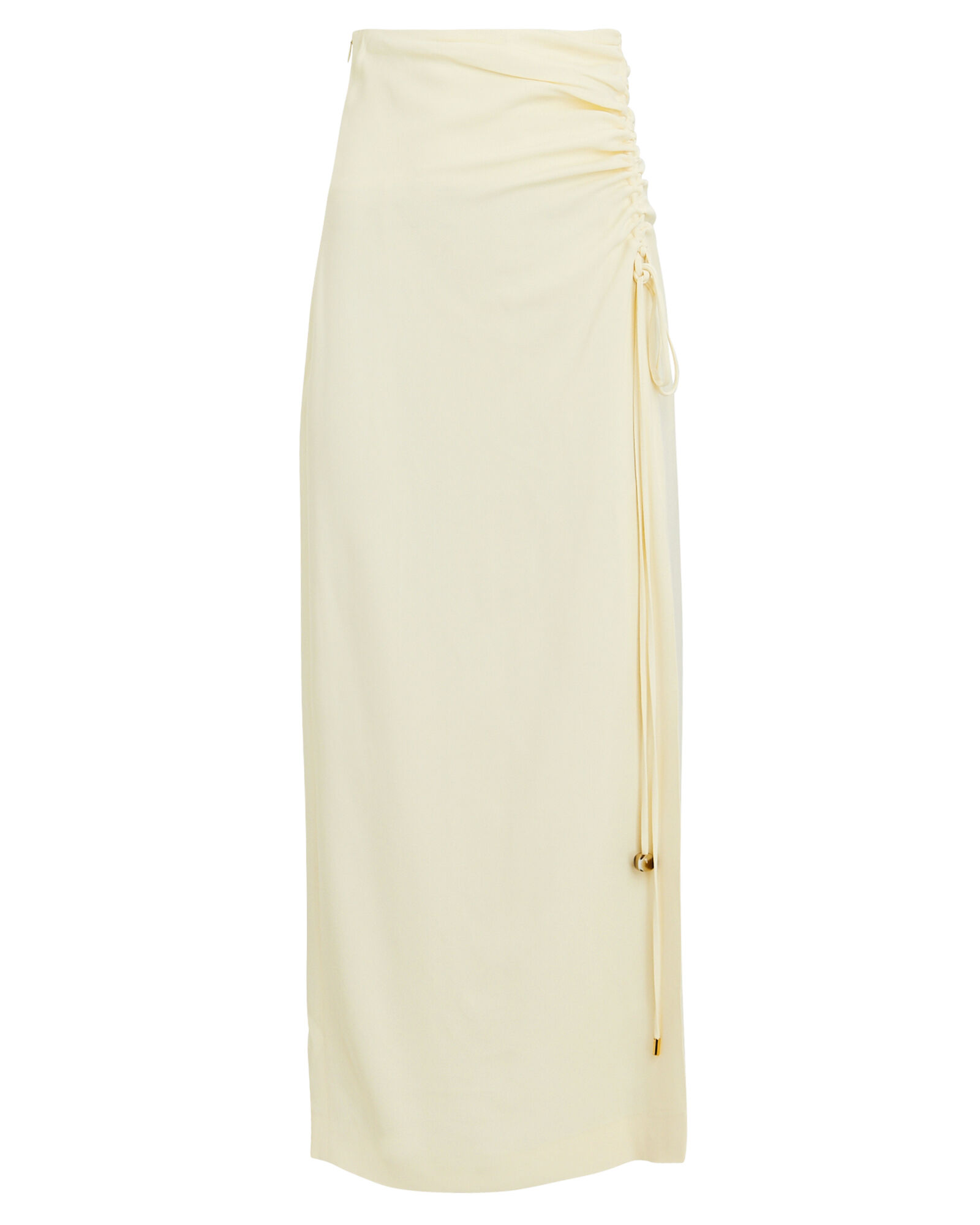 Malorie Ruched Midi Skirt, IVORY, hi-res
