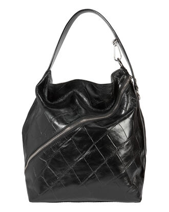 Asymmetrical Zip Embossed Hobo Bag, BLACK, hi-res