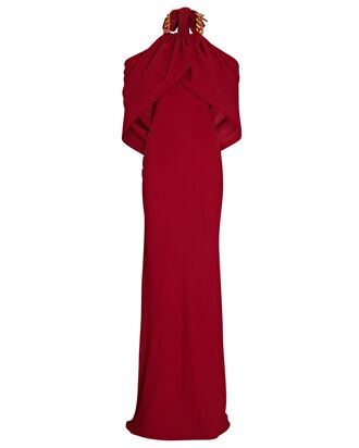 Chain-Link Open Back Gown, RED, hi-res