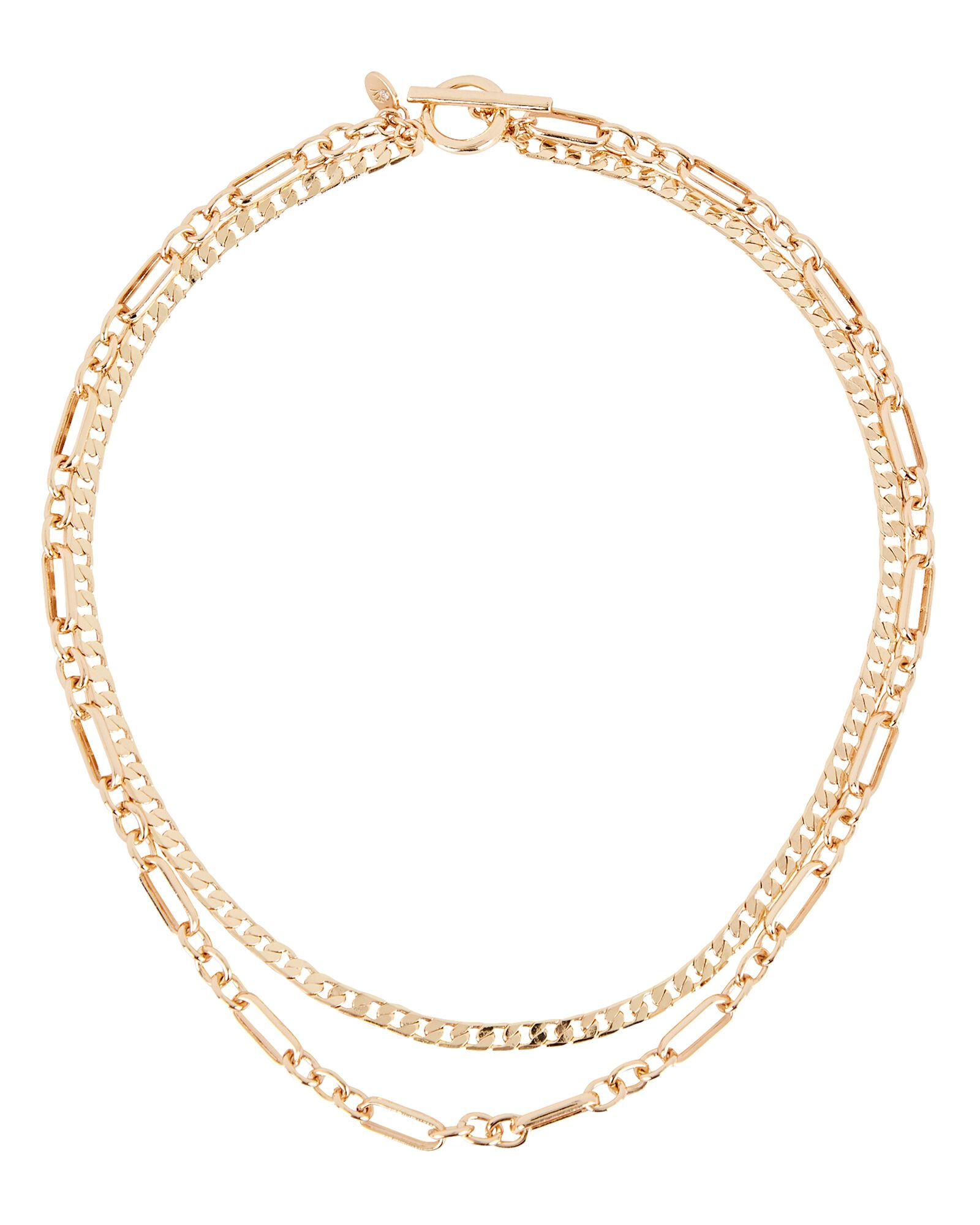 Osea Double Layer Chain Necklace, GOLD, hi-res