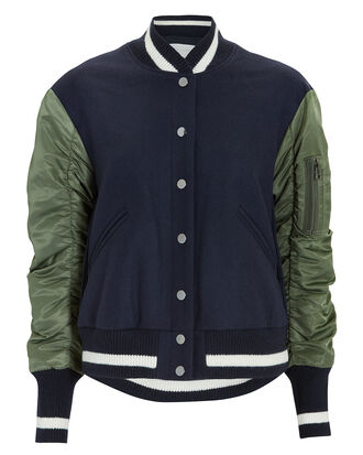 Joanie Pleated Back Bomber Jacket, NAVY, hi-res