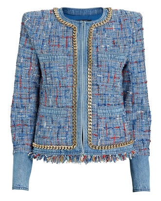 Denim-Trimmed Tweed Jacket, BLUE, hi-res