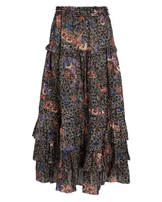 Astra Ruffled Floral Midi Skirt, MULTI, hi-res