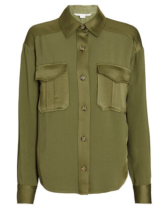 Ainsley Cargo Button-Down Shirt, OLIVE, hi-res