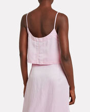 Flared Linen-Blend Camisole, PEONY, hi-res