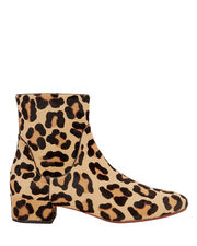 Leopard Haircalf Booties, BROWN, hi-res