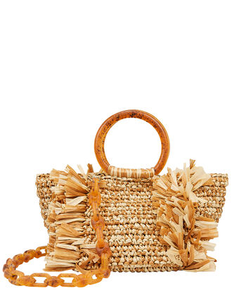 Corallina Brown Raffia Bag, BROWN/BEIGE, hi-res