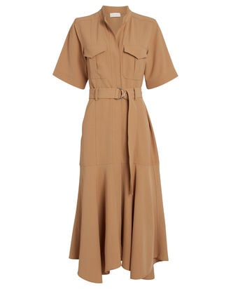 Emma Belted Shirt Dress, BEIGE, hi-res