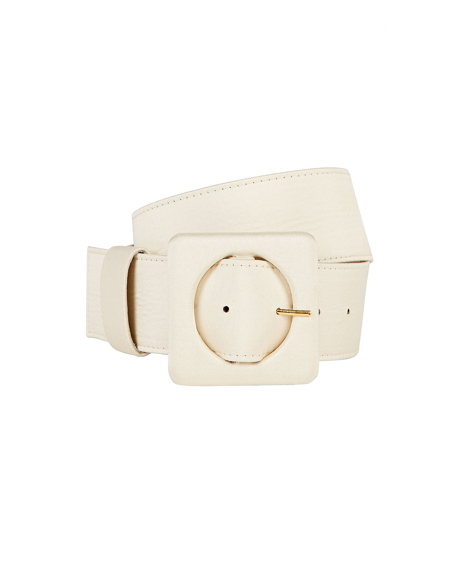 Agnes Square Buckle Silk Belt, CREAM, hi-res