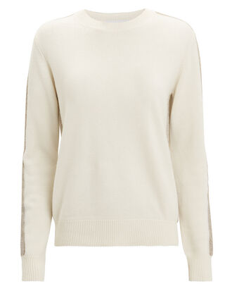Ivory Lurex Stripe Sweater, IVORY, hi-res