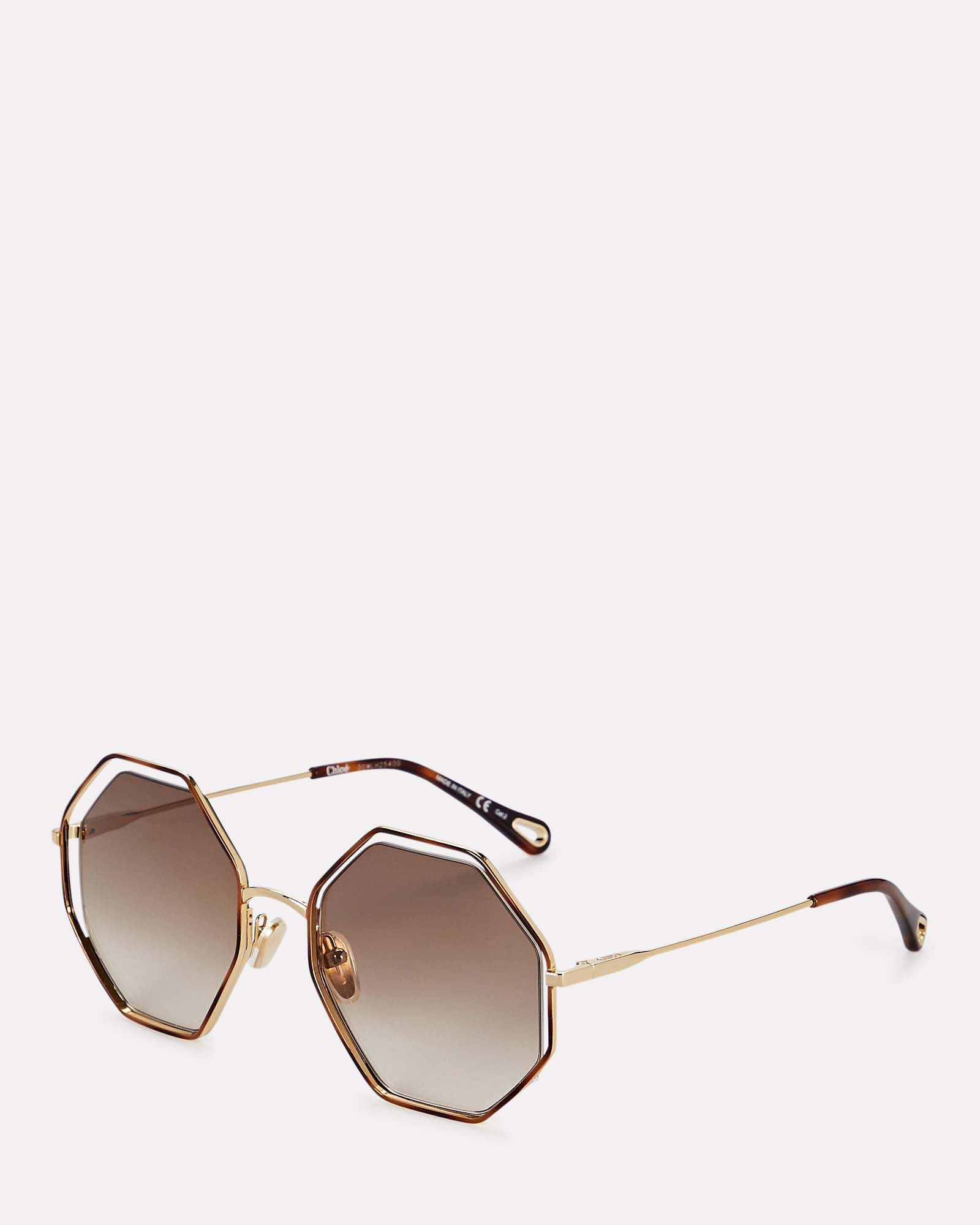 Oversized Octagonal Wire Sunglasses, GOLD, hi-res
