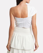 Sol One-Shoulder Knotted Top, WHITE, hi-res