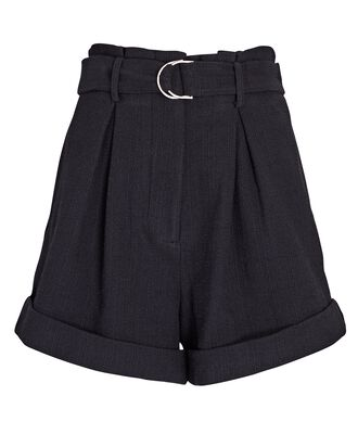 Tennessee Belted Cotton Shorts, BLACK, hi-res