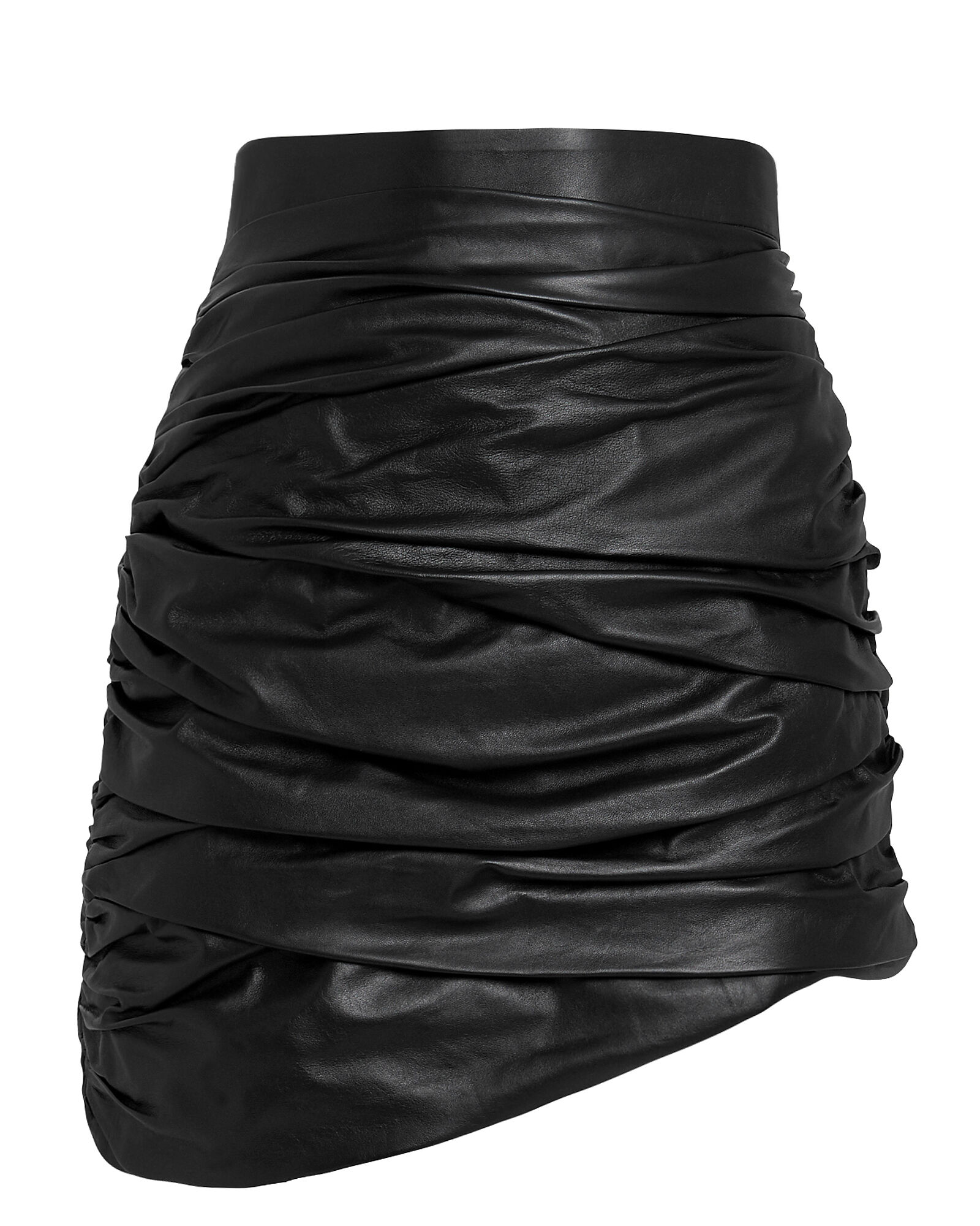 Ruched Leather Mini Skirt, BLACK, hi-res