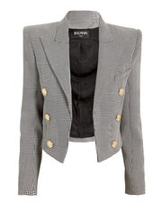 Cropped Check Blazer, BLK/WHT, hi-res