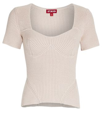 Buxton Bustier Rib Knit Top, IVORY, hi-res