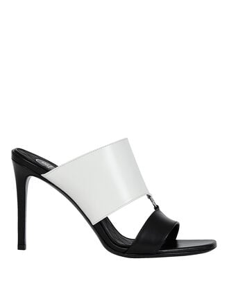 Paola Two-Tone Slide Sandals, BLACK/WHITE, hi-res
